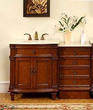 51-inch Cream Marfil Marble Stone Counter Top Bathroom Single Sink Vanity 0205CM