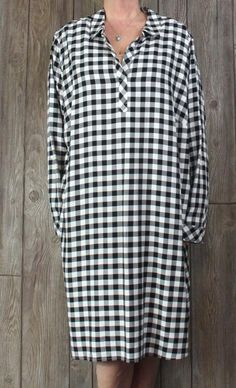 Nice New J Jill Black Creme Check Shirt Dress 4x size Womens Comfort Plus Pockets