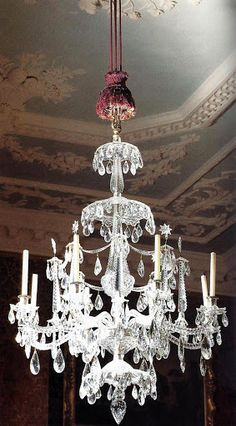 Cut glass chandelier from Uppark, Sussex. Possibly made by Christopher Haedy, Antique Chandelier, Antique Lighting, Glass Chandelier, Chandelier Lighting, White Chandelier, Crystal Chandeliers, Baroque, Interior Design History, Victorian Home Decor