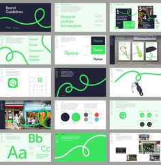 Quiqup Branding Re-imagined for the Future. Love the twisting line used throughout the brand guidelines and the bright green used in contrast with the deep navy for a striking and memorable visual identity. Web Design, Logo Design, Brand Identity Design, Brochure Design, Layout Design, Brand Design, Logo And Identity, Visual Identity, Tech Branding