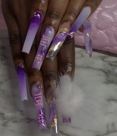 Purple Acrylic Nails, Clear Acrylic Nails, Bling Nails, Swag Nails, Acylic Nails, Super Cute Nails, Exotic Nails, Cute Acrylic Nail Designs, Kawaii Nails