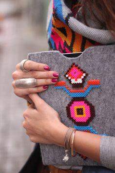 Perler bead decorated tech case