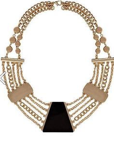 River Island statement necklace black and gold