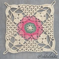 Crochet Granny Square Patterns Ekte Lykke: The Rustic Lace Square - pattern and tutorial Crochet Motifs, Crochet Blocks, Granny Square Crochet Pattern, Crochet Squares, Crochet Granny, Crochet Doilies, Crochet Stitches, Crochet Patterns, Granny Squares