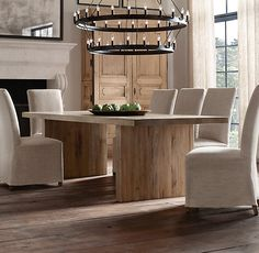 Reclaimed Russian Oak Plank Rectangular Dining Tables | All Rectangular Tables | Restoration Hardware