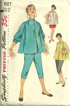 Simplicity 1027 1950s Misses Maternity Pattern Toreador Pants Shorts and Blouse Womens Vintage Sewing Pattern by patterngate.com