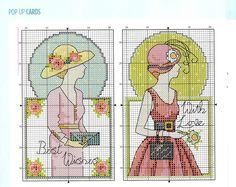 0 point de croix cartes femmes chapeaux - cross stitch cards ladies with bonnets and hats part 2