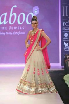 Off white and pink lehnga