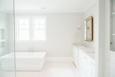 "Master Bathroom with basketweave floors and BM ""Moonshine"" walls 