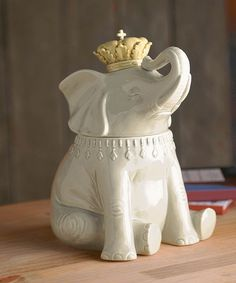 I'm so getting him and naming him Prince Franklin!! Take+a+look+at+the+Ceramic+Elephant+Cookie+Jar+on+#zulily+today!