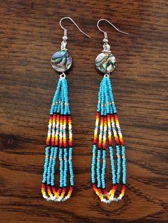 Handmade Native American Beaded Earrings by PeacefulBeadwork on Etsy https://www.etsy.com/listing/224406491/handmade-native-american-beaded-earrings