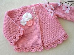 Baby Sweater Patterns, Baby Girl Patterns, Knit Baby Sweaters, Baby Knitting Patterns, Crochet Pattern, Baby Cardigan, Cardigan Bebe, Knitting Baby Girl, Crochet Baby