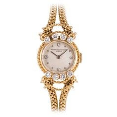Vacheron & Constantin Lady's Yellow Gold and Diamond Wristwatch circa 1950s | From a unique collection of vintage wrist watches at https://www.1stdibs.com/jewelry/watches/wrist-watches/