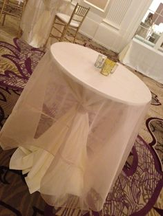 cocktail cinch with organza overlay Central Illinois, Cocktail Tables, Iowa, Wedding Designs, Wedding Table, Overlay, Cocktails, Events, Craft Cocktails