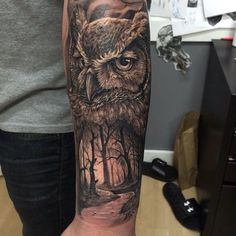 owl tattoo black and grey mens sleeve - Buscar con Google