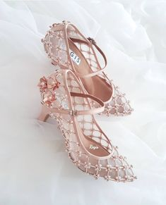 For the Whimsical bride. Get the look at Fancy Shoes, Cute Shoes, Me Too Shoes, Bridal Shoes, Wedding Shoes, Pretty Heels, Kawaii Shoes, Embellished Shoes, Aesthetic Shoes
