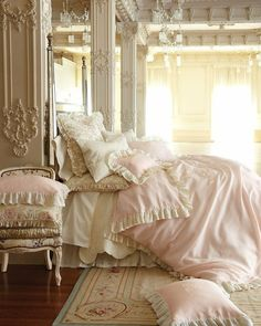 Beautiful Shabby Chic bedding and room, Sweet Dreams! 30 Shabby Chic Bedroom Decorating Ideas - Decoholic - Home Decorating Magazines Dream Bedroom, Home Bedroom, Bedroom Decor, Bedroom Ideas, Shabby Bedroom, Bedroom Designs, Victorian Bedroom, Pretty Bedroom, Ivory Bedroom