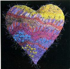 jan beaney and jean littlejohn Free Motion Embroidery, Beaded Embroidery, Heart Art, Love Heart, Stitch Drawing, Double Trouble, Love Symbols, Textile Artists, Fabric Art