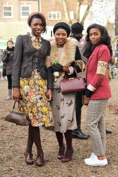 Three lovely ladies in the London 2011 Tweed ride // Lady on the left is my favorite. Afro Punk, Looks Style, Style Me, Retro Fashion, Vintage Fashion, Petite Fashion, Curvy Fashion, Style Fashion, Fashion Ideas
