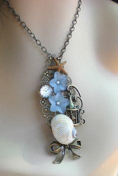Steampunk Sea Collage Antique Bronze Filigree Necklace