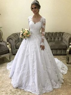 Prom Dress For Teens, Stylish Ball Gown V-neck Long Sleeves Court Train With Applique Satin Wedding Dresses cheap prom dresses, beautiful dresses for prom. Best prom gowns online to make you the spotlight for special occasions. Western Wedding Dresses, Wedding Dress Train, Luxury Wedding Dress, Sweetheart Wedding Dress, Wedding Dress Sleeves, Princess Wedding Dresses, Tulle Wedding, Cheap Wedding Dress, Dream Wedding Dresses