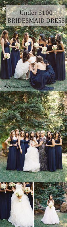 2016 navy strapless long chiffon bridesmaid dresses, cheap bridesmaid dresses under 100