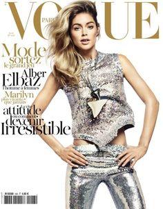 Major spring sequins on the cover of Vogue Paris, April 2012.