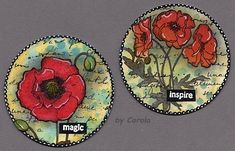 PaperArtsy: 2018 Topic Artist Trading Coins {Topic Introduction and Challenge} Atc Cards, Journal Cards, Art Trading Cards, Cd Art, Coin Card, Pocket Letters, Small Art, Altered Art, Mixed Media