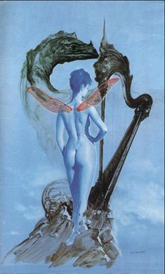 Art for the cover of a French paperback edition of Dragonsinger (La chanteuse-dragon de Pern). Pern is harpers and dragons and Siudmak did put a magnificent harp in this piece of art. Siudmak's art often gives you the idea of a dream: esthetically beautiful but impossible configurations.  © Copyright Wojtek Siudmak, all rights reserved.