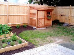 The cedar lean-to shed fits nicely along a fence and is awesome storage for gardening tools and supplies.  cedarshed.com