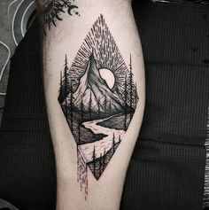 Landscape Tattoo by Thomas Eckeard @ Black Talon Tattoo in Arcadia, CA. Landscape Tattoo by Thomas Eckeard @ Black Talon Tattoo in Arcadia, CA. Dreieckiges Tattoos, Trendy Tattoos, Cute Tattoos, Beautiful Tattoos, Tattoo Drawings, Body Art Tattoos, Sleeve Tattoos, Tattoos For Guys, Tatoos