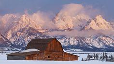 Moulton Barn Winter - Teton Range, Wyoming