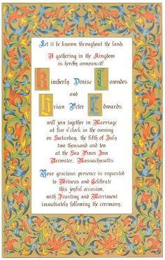 Renaissance Ribbon wedding invitation, with Illuminated capitals. Perfect for a Renaissance or Medieval wedding.
