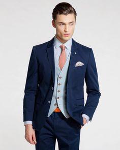 Debonair cotton jacket - Navy | Jackets & Blazers | Ted Baker