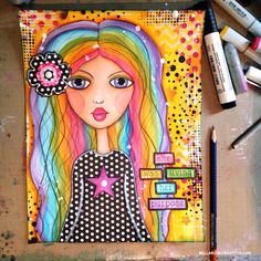 Whimsical Rainbow Mixed Media Girl Art Journal ♥ Bella Rose Creative