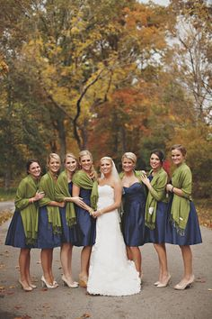 kentucky blonde: the bride & maids navy with olive green pashmina - FALL