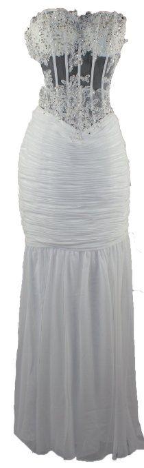 Strapless Corset Sheer Bodice Wedding Dress $179