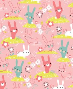 Adorable bunny pattern with a pink background by lizziemackay.com
