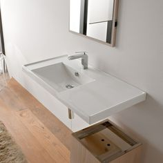 Bathroom Sink, Scarabeo 3008, Rectangular White Ceramic Self Rimming or Wall Mounted Bathroom Sink 3008