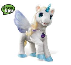 This interactive unicorn features more than 100 sound and motion combinations and responds to a child's touch. Her horn lights up as she moves her head, flutters her wings, and opens and closes her eyes.… read more