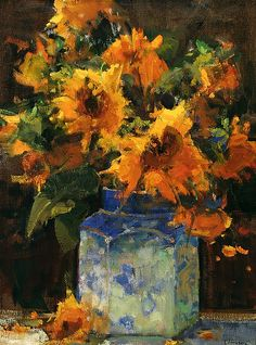 Sunflowers and Ginger Jar by Kathryn Stats - Greenhouse Gallery of Fine Art
