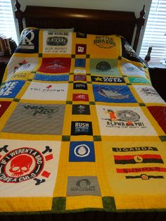 T-shirt quilt. This is what I want to do with all your band shirts!