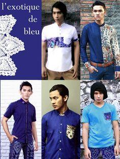 It's all about blue - Mavazi menswear for summer Men's Fashion, Button Down Shirt, Menswear, Men Casual, Textiles, Summer, Mens Tops, Blue, Shirts