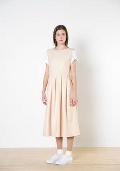 Twenty-Seven Names - Ava Wool Dress - Peach Pleated Skirt, Midi Skirt, Pinafore Dress, Wool Dress, Ava, The Twenties, Size 16, Peach, Casual