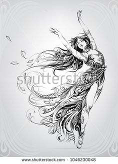 Find Dance Girl Floral Ornament stock images in HD and millions of other royalty-free stock photos, illustrations and vectors in the Shutterstock collection. Thousands of new, high-quality pictures added every day. Pencil Art Drawings, Art Drawings Sketches, Tattoo Drawings, Body Art Tattoos, Arte Cholo, Tattoo Symbole, Geniale Tattoos, Girl Silhouette, Horse Tattoos