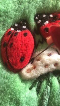 Ladybug Felt, Ladybug Party, Nuno Felting, Needle Felting, Best Friend Gifts, Gifts For Friends, Rainbow House, Wool Art, Felt Art