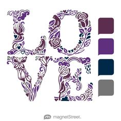 Eggplant, Plum, Navy, and Charcoal Wedding Color Palette - free custom artwork created at MagnetStreet.com