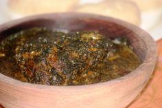 Traditional Mouloukhié au Poisson (sauce aux feuilles de gombo – kelenkelen au Cameroun)..., ,