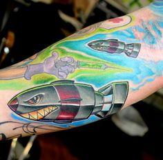 New school bomb tattoo arm tat bright colors tattoo needle tats ig @jo3ball
