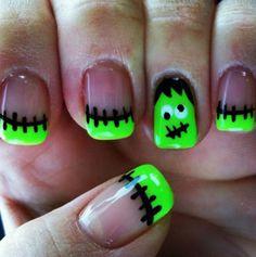 favourite-spooky-Halloween-nail-art-designs_Frankenstein